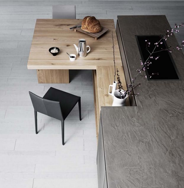 Cloe Kitchen By Cesar Cucine, Particular Of The Table That Connects  Harmoniously To One Of