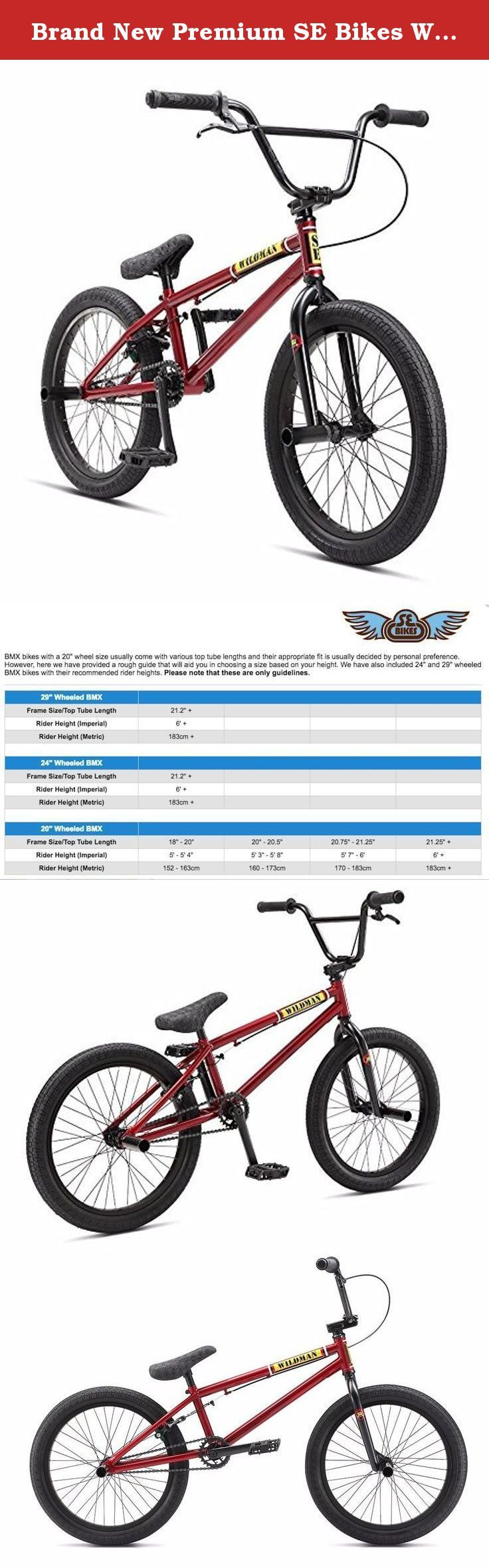 """Brand New Premium SE Bikes Wildman 20"""" BMX Bike 2017 Red Metal. SE Racing Wildman BMX Bike The new SE Racing Wildman BMX Bike has a more compact 19.5"""" top tube and a price tag that will get you hyped. With tapered leg SE forks with cut-out clearance for pegs, the Wildman is the perfect choice for the new BMXer. It's small and light enough to throw around on the ramps and dirt jump tracks, and with the 25Tx9T gearing and wider 2.3"""" tyres to provide more traction and forgiveness when…"""