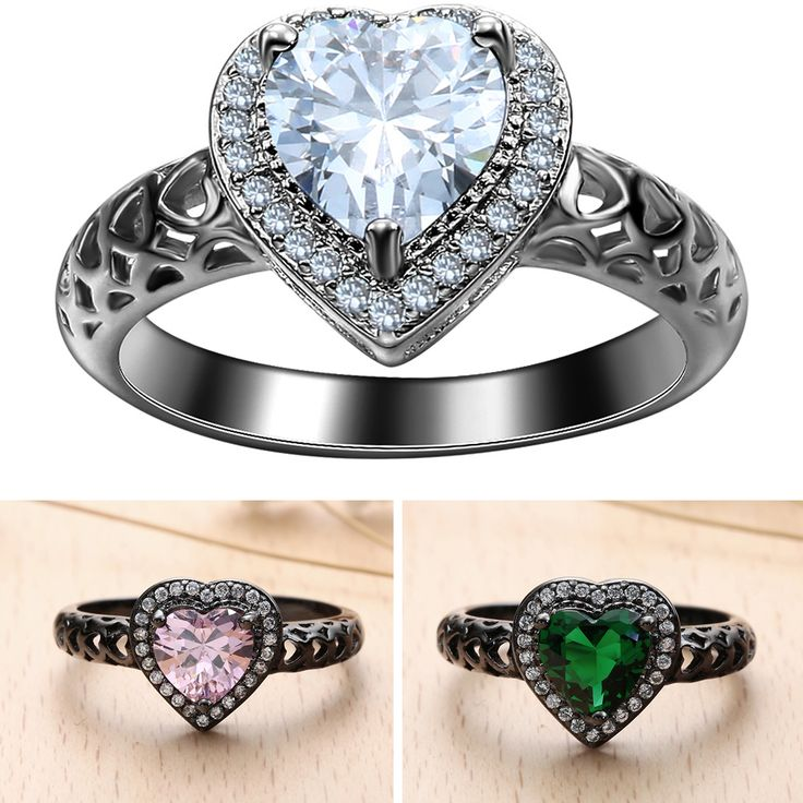 Find More Rings Information about BLACK GUN romantic heart finger Rings new love…