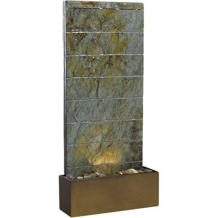 Showcasing polished river stones and a natural green slate finish, this eye-catching fountain is the perfect addition to your backyard or garden.