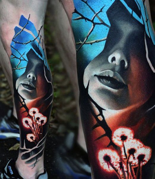 Mens Abstract Flower Tattoo On Legs