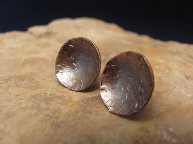Copper earrings with Sterling silver studs
