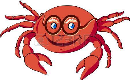animales acuaticos animados: Ilustración del vector con la imagen de un cangrejo.