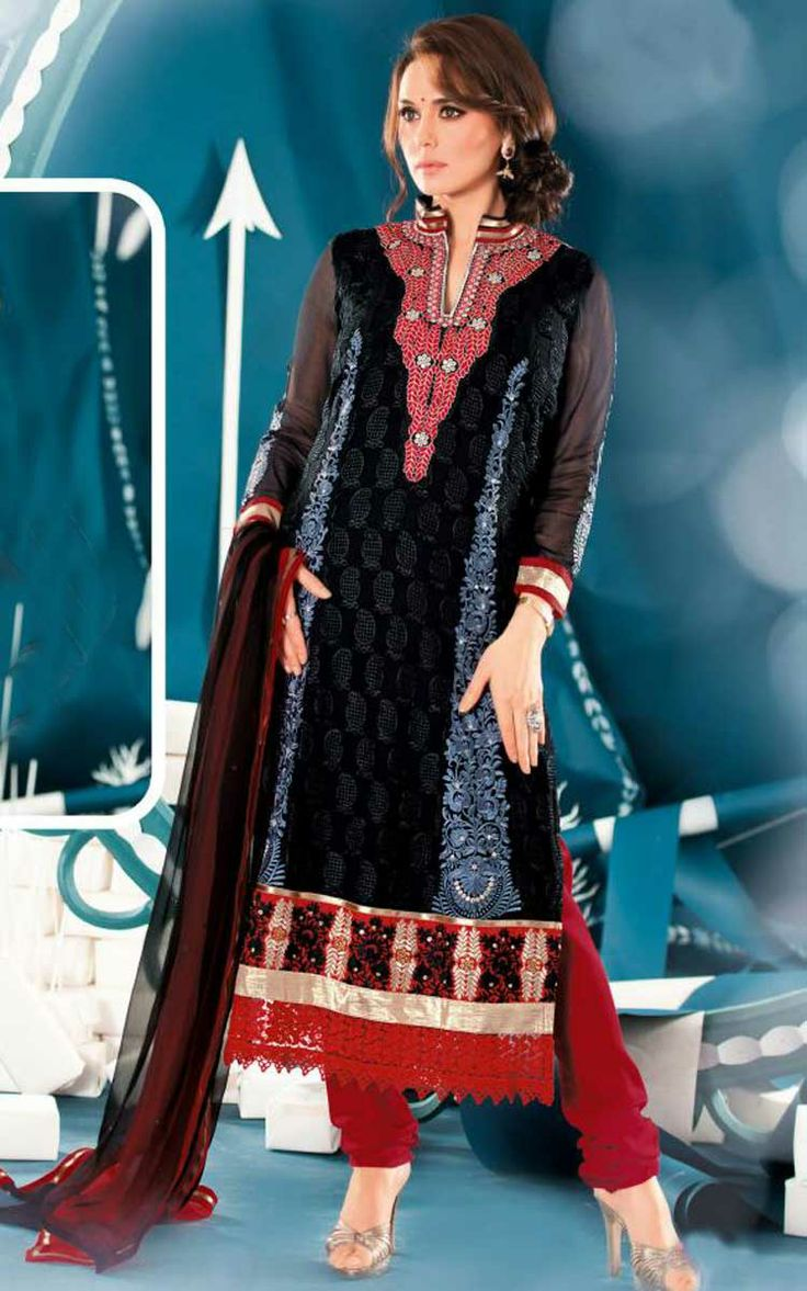 BLACK & RED GEORGETTE EMBROIDERED SALWAR KAMEEZ - ZIN 9011
