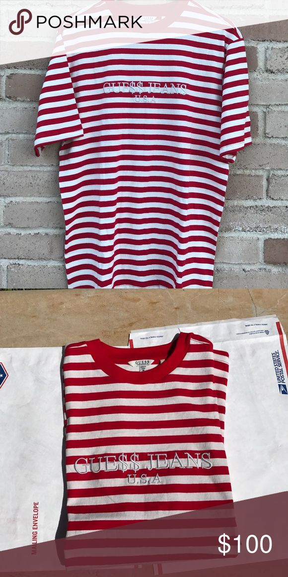 Guess By Asap Rocky, Red/White Guess By Asap Rocky, Red/White, Brand New $90 Firm, Size Medium Guess Shirts Tees - Short Sleeve
