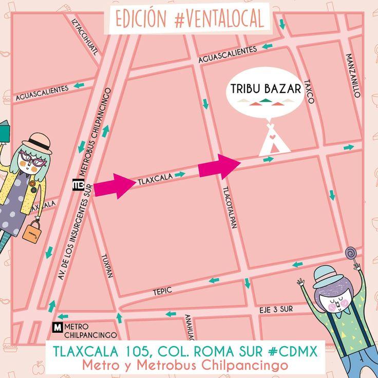 Nuestro mapa como llegar a #tribubazar Tlaxcala 105 Col. Roma Sur. Ciudad de México. Metro y Mb Chilpancingo