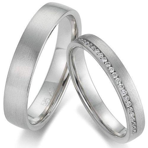 Trauringe Gerstner 4/28507/3.5 und 28507/3.5 Ring mit 28 Brillanten zusammen 0,14ct WSI Ringbreite 3,5 mm, Ring ohne Steine 3,5 mm Weißgold 375. Paarpreis