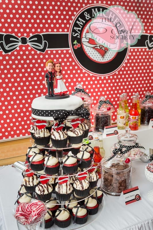 Rockabilly wedding candy buffet with cupcake tower wedding cake