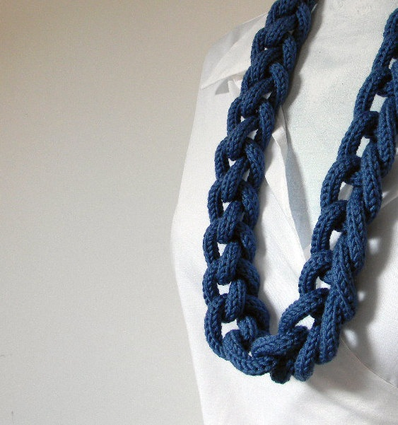 DENIM BLUE pure wool chain necklace  INES long  Ready by ylleanna, €35.00