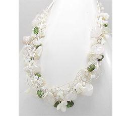 Colier din matase japoneza argintie cu pietre semipretioase peridot verde, sidef alb, cuart alb 73