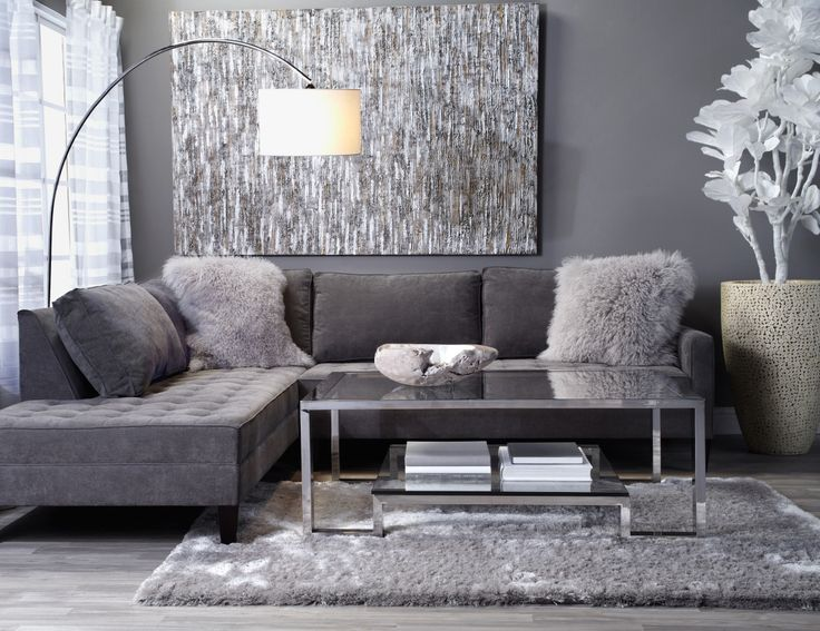Create a luxe lounge with contemporary pieces in grey & silver hues.