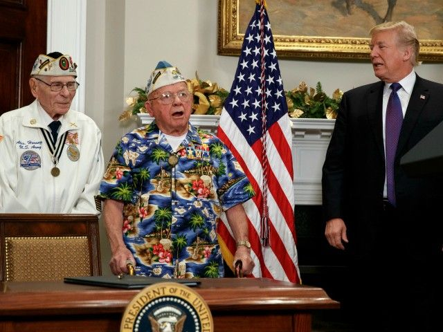 "During President Trump's Pearl Harbor Day speech, one of the World War II veterans started singing the song ""Remember Pearl Harbor."""