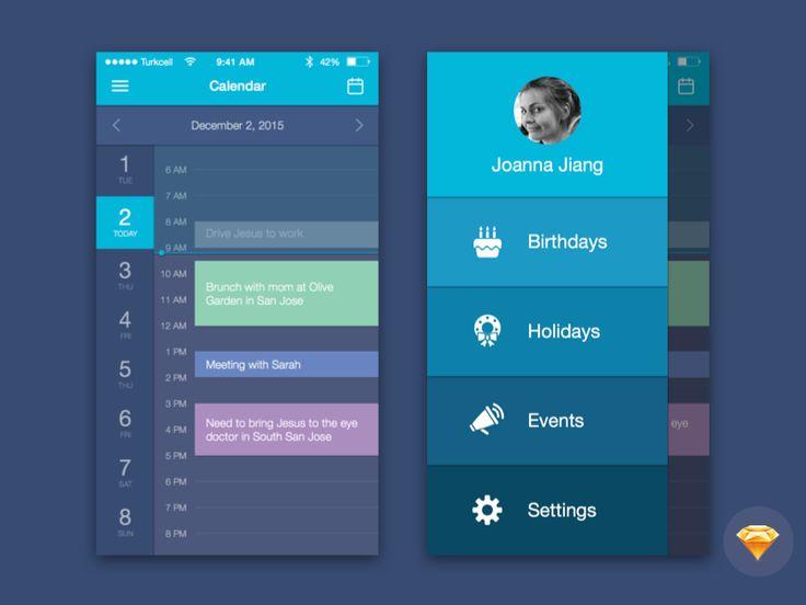 Free Sketch File for Download: Calendar Mobile UI