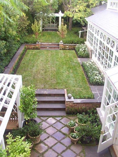 Great solution for a sloped small yard.