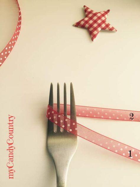 Tutorial: fare il fiocco di nastro con la forchetta packaging stoffa e lana