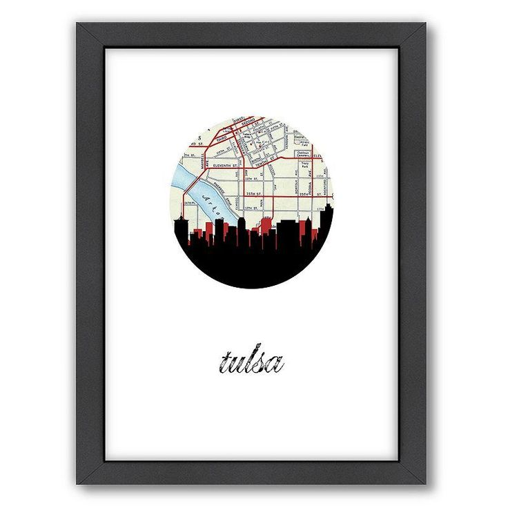 Americanflat Tulsa Map Skyline Framed Wall Art, Multicolor