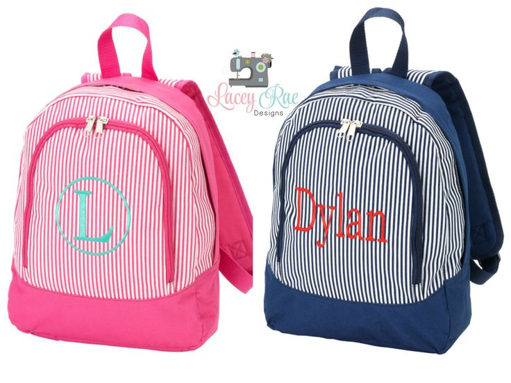 Preschool Backpack and Lunchbox, Pink or Blue Pinstripe Backpack, Toddler backpack, Monogrammed backpack, Church Bag by LaceyRaeDesigns on Etsy https://www.etsy.com/listing/236875827/preschool-backpack-and-lunchbox-pink-or