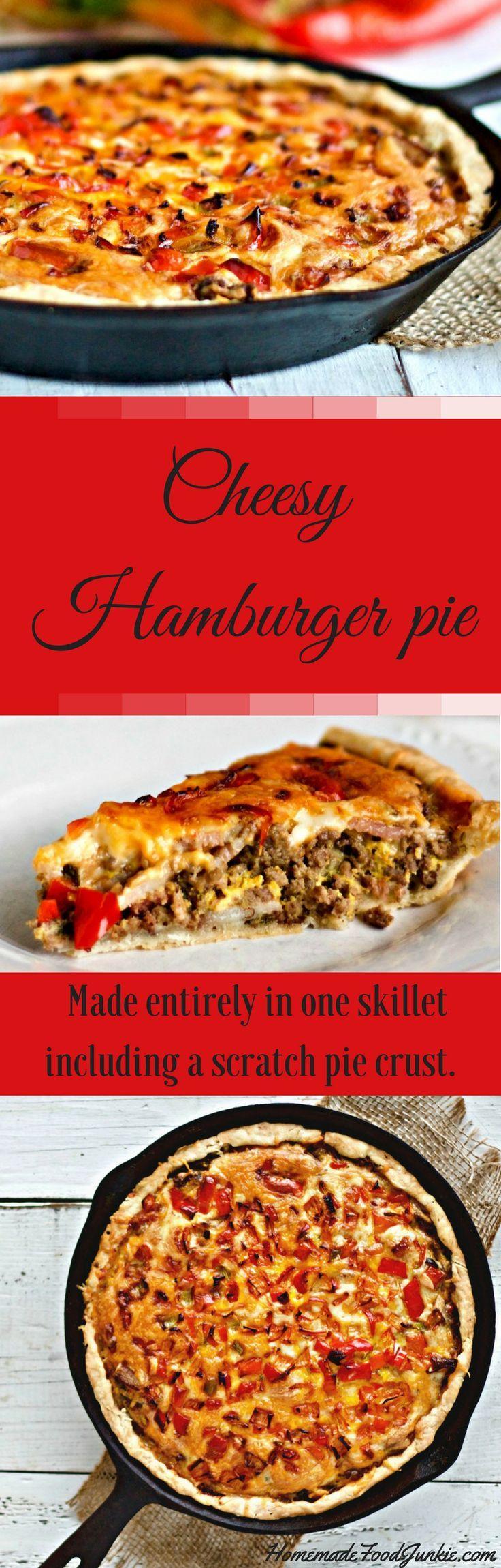 Cheesy Hamburger Pie is an easy one skillet dinner. Warm, filling man pleasing comfort food.
