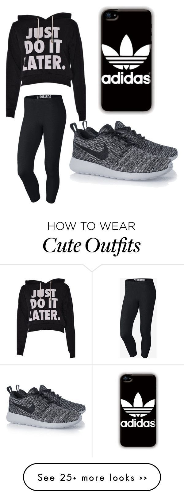 """Omg this is such a cute lazy day out fit is a cute lazy day outfit or you could go work out I. It"" by gabrielle-dubose on Polyvore featuring NIKE and adidas"