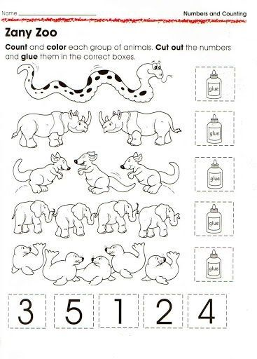 animal number count worksheet for