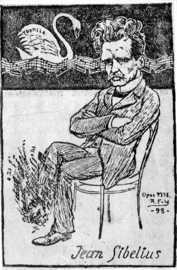 A. Federley's cartoon of the composer of the  Swan of Tuonela, 1898.