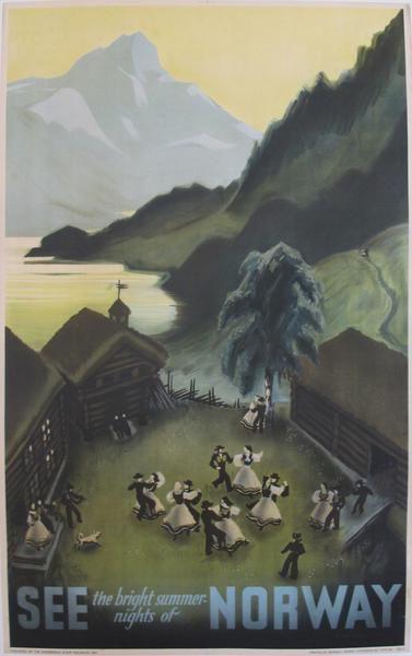 1937 Vintage Norwegian Travel Poster, Bright Summer Nights of Norway