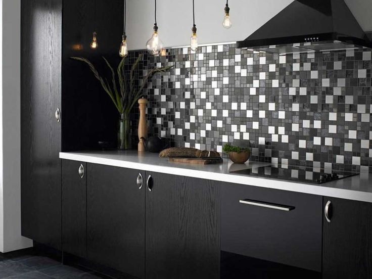 Kitchen tiles black with black cabinet