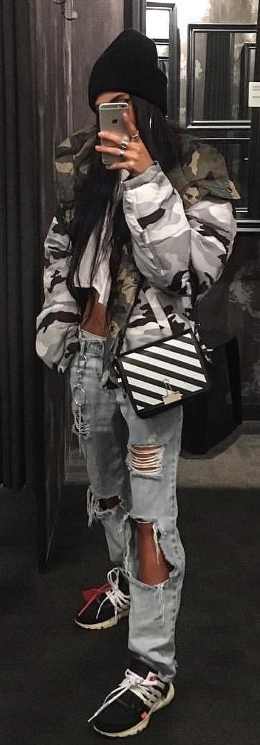 #winter #outfits black knit cap black, gray, and white camouflage jacket, distressed jeans and black sneakers outfit