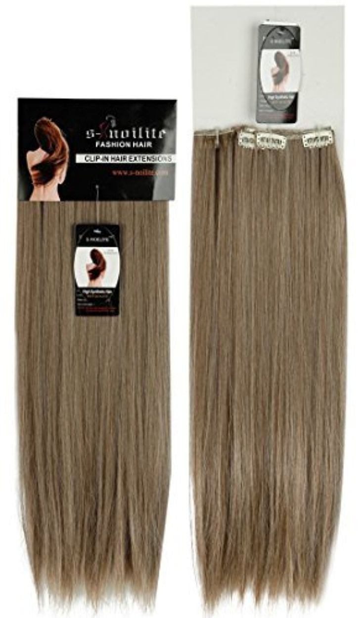 23 inches Long Straight Ash Brown Mix Bleach Blonde Clip in on 8 Pieces Full Head Set Hair Extensions 8pcs Hairpiece by US Fashion Outlet -- Awesome products selected by Anna Churchill