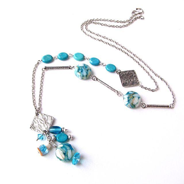 Chaine Azur turquoise et argent - Bijoux Losange