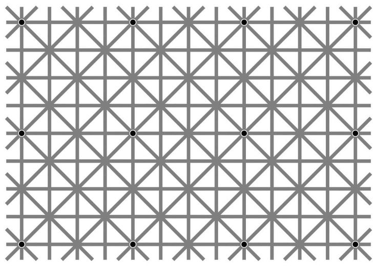 "Will Kerslakeさんのツイート: ""There are twelve black dots at the intersections in this image. Your brain won't let you see them all at once. https://t.co/ig6P980LOT"""