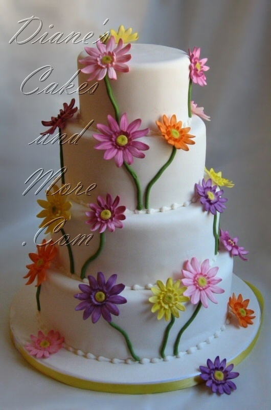 Gerbera Daisy Wedding Cake~ with fall colors would be perfect!