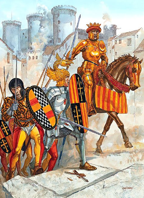 Alfonso's Neapolitan Campaigns: • Italian soldier, Kingdom of Naples  • Catalan knight of Barcelona  • King Fernando IAlfonso V of Aragon, 1440s