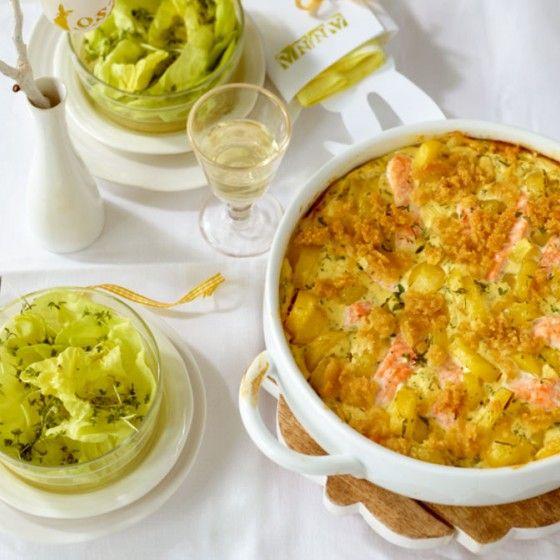Kartoffel-Lachs-Gratin mit Salat