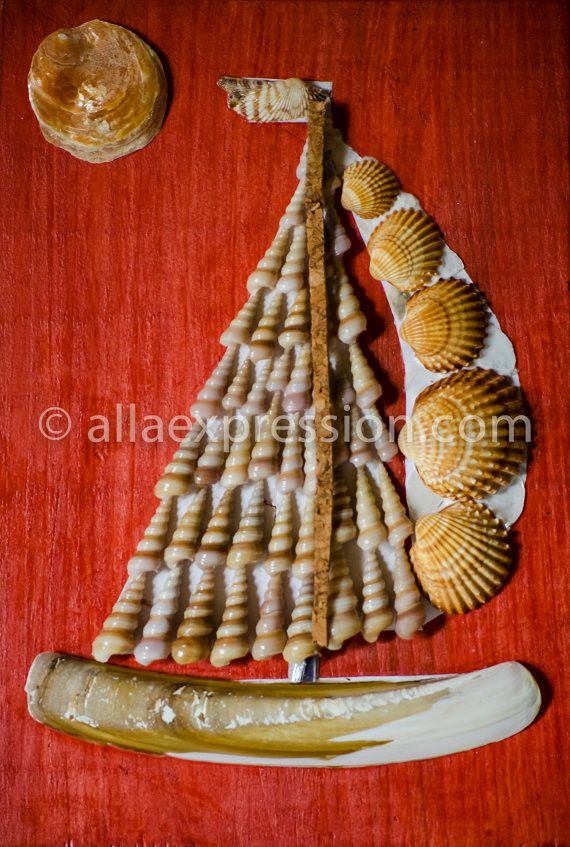 Sail Boat   Seashell Mosaic Room Wall Decor with by allaexpression, $49.99