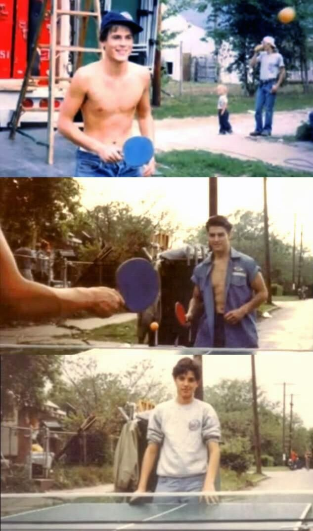 Rob Lowe, Tom Cruise and Ralph Macchio playing ping pong on the set of The Outsiders.