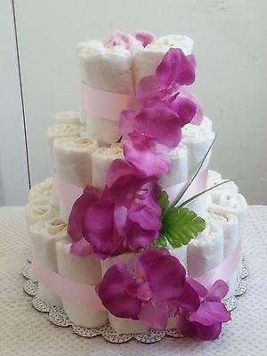 Pastel de pañales de 3 Pisos De Lavanda Rosa Flor Floral Baby Shower Pieza Central-Girl