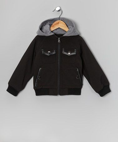 Take a look at this Black Soft Shell & Faux Leather Hooded Jacket - Toddler & Boys by Urban Republic on #zulily today!