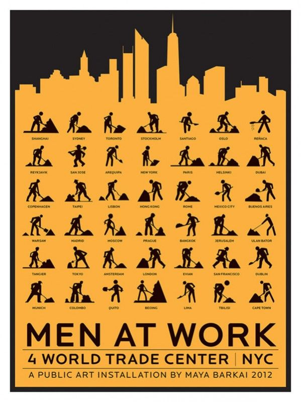 Maya Barkai 2012 Men at work symbols around the world