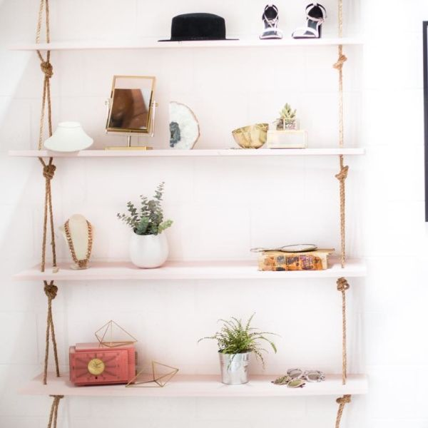 DIY Hanging Rope Shelves - Our DIY crush Mr. Kate has a fairly simple tutorial for making these shelves on her website right now—you can adjust the depth and height to your specific needs. We're picturing them in the beach homes of our dreams.