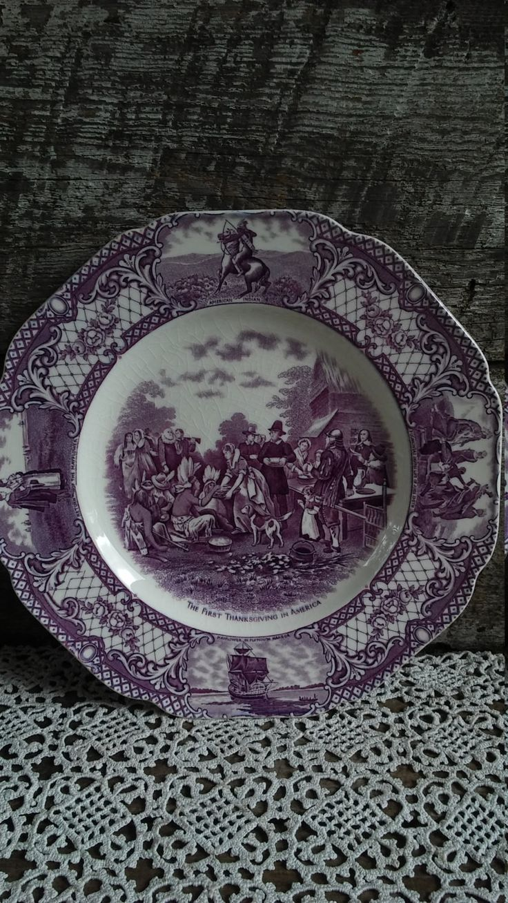 """Crown Ducal Purple Dinner Plate, """"First Thanksgiving In America"""", Colonial Times, 10"""""""