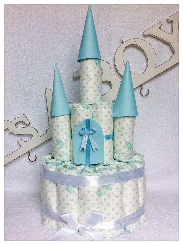 - Originele luiertaart - Kraamcadeau voor jongen Luier-Kasteel / Baby Shower Gift Boy Diaper Castle. Info: https://joleenskraamcadeaus.wix.com/kraamcadeau#!product/prd1/1830229975/luier-kasteel