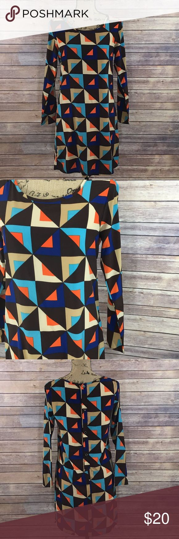 Opie & Lucy Dress Size Small Opie & Lucy Dress Brown Multi Color Geometric Print Gold Buttons down the back In excellent condition No signs of wear or fading Opie & Lucy Dresses