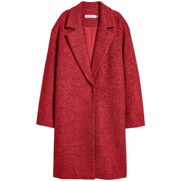 Wool-blend Coat $99 ($99) ❤ liked on Polyvore featuring outerwear, coats, jackets, h&m, red coat and wool blend coat