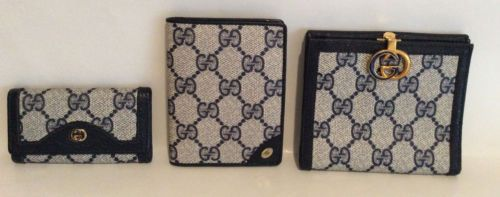 Vintage GUCCI Accessories: GG logo Navy Bifold wallet; cc holder; key case  in Clothing, Shoes & Accessories, Women's Accessories, Wallets | eBay