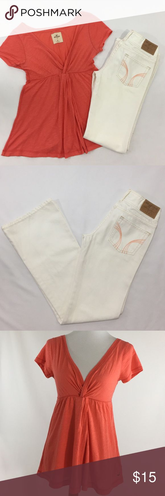 "HOLLISTER Bundle Jeans & Tee Size 3 & Medium HOLLISTER White boot cut jeans size 3 coral stitching detail on pant pockets. HOLLISTER Size medium plunging V-neck coral loose T-shirt. Both in excellent condition!! Pant measurements laying flat: Waist 14"" Length 31"" (crotch to end of pant leg) Pant leg opening 9"" Hollister Jeans Boot Cut"