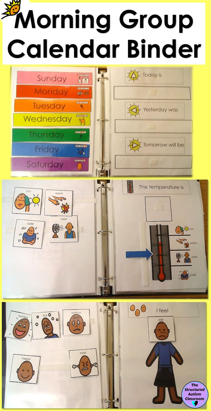 Morning Work Interactive Calendar Binder for Autism and Special Education.  Also includes rules, months, weather, seasons, seasonal clothing, body parts, time, and money.  Great addition to any circle time, morning meeting, morning group, or calendar time!