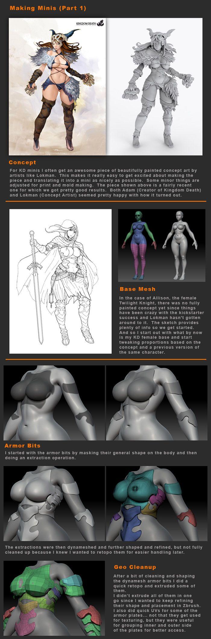 ::LINK:: Kingdom Death Mini Tutorial 1-4 #3d #sculpting #tutorials