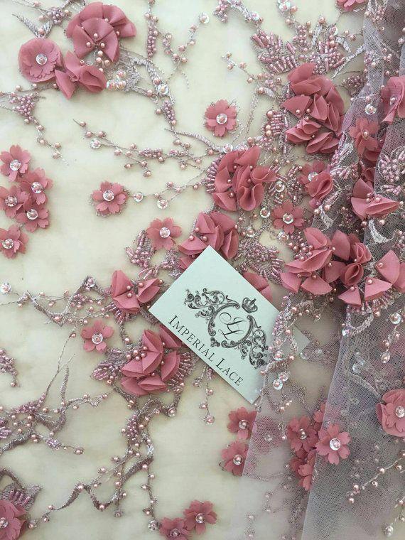 Rot-braune Farbe 3D Spitze Stoff, luxuriöse handgefertigte Perle Perlen von 3D Blumen, französische Spitze, Spitze, Spitze Hochzeit, Braut Spitze bestickt
