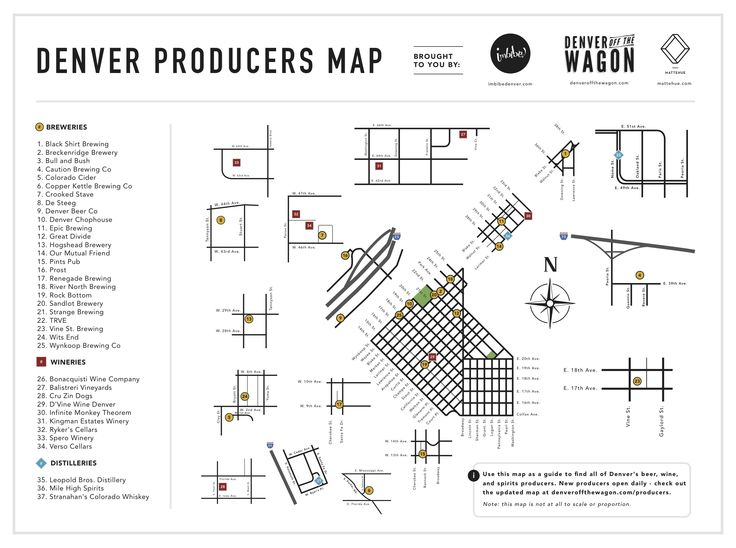 Denver Producers Map Of All The Breweries Distilleries And Wineries In Denver From